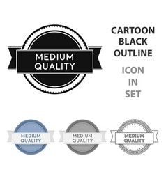 Medium quality icon in cartoon style isolated on vector