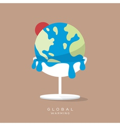 Global warming concept ice cream earth melts vector