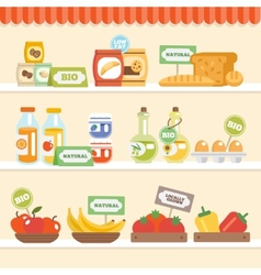 Food collection on shelf vector