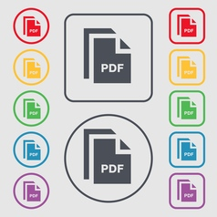 File pdf icon sign symbol on the round and square vector