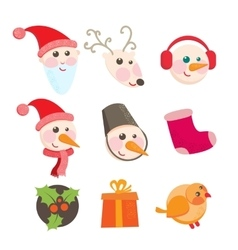 Cheerful holiday icons vector