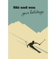 Winter background Skier slides from the mountain vector image