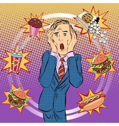 Fast food man unhealthy diet panic vector