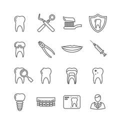 Teeth dentistry medical line icons vector