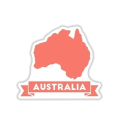 Paper sticker on white background australia map vector