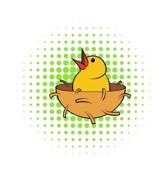 Chick in nest icon comics style vector