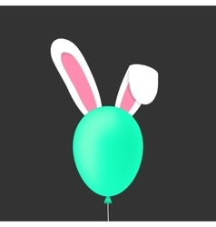 Rabbit ears behind the green baloon vector