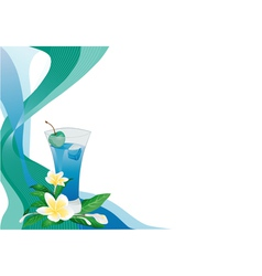 blue drink card with plumeria vector image