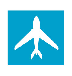 Blue square frame with airplane icon vector