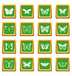 Butterfly icons set green vector