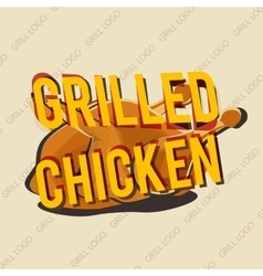 Creative logo design with grilled chicken vector image vector image