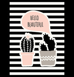 Cute cacti poster design vector