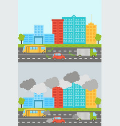 ecology city landscape set with air soil pollution vector image