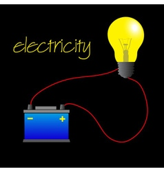 Electricity circuit with light bulb and battery vector