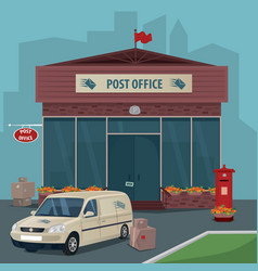 exterior of post office and car of postal service vector image vector image