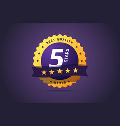five stars rating round medal vector image vector image