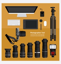 Flat design photographer tool vector