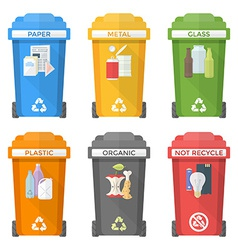 Flat style colorful separated garbage bins icons vector
