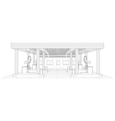 gas station wire-frame line vector image