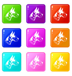 Great dane dog icons 9 set vector