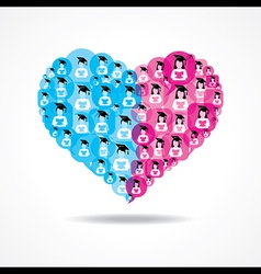 Group of male and female icons make a heart vector