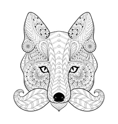 Hand drawn zentangle tribal Fox face for adult vector image vector image