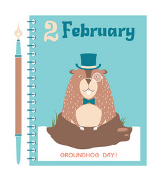 Happy groundhog card background with marmot vector