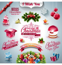 Holiday collection for a Christmas theme vector image