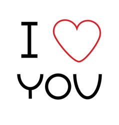 I love you card with big red heart Flat design vector image