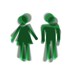 Male and female sign colorful icon shaked vector