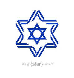 monochrome star with Israel flag colors and vector image vector image