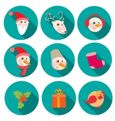New Year and Christmas flat icons set vector image