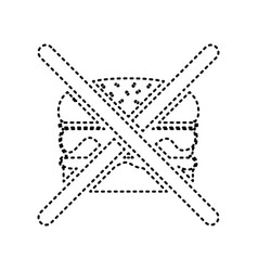No burger sign black dashed icon on white vector