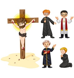 Priests and jesus figure vector image