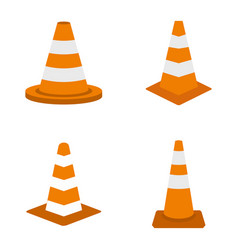 road cone icon set flat style vector image
