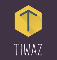 Tiwaz rune of elder futhark in trend flat style vector