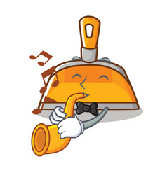 With trumpet dustpan character cartoon style vector