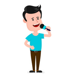 young man with microphone singing vector image
