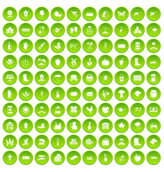 100 farm icons set green vector