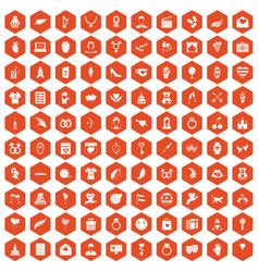 100 heart icons hexagon orange vector