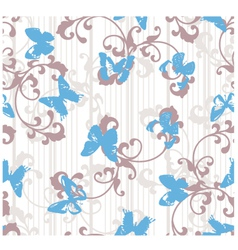 Grunge butterflies with stripes and floral element vector image