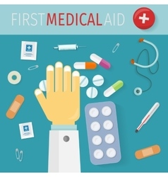 First medical aid banner hospital equipment vector