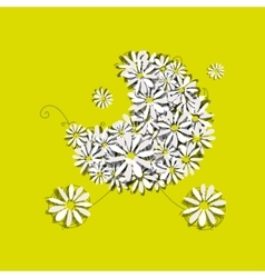 Camomile baby pram sketch for your design vector image