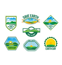 Save earth nature ecology badges set vector