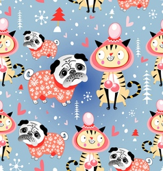 texture in love cats and pugs winter vector image