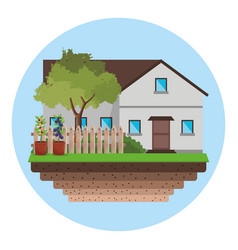 House with fence tree garden vector