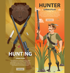 Colorful hunting vertical banners vector