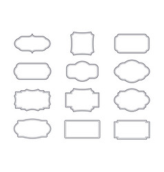Set of grey vintage frames and isolated elements vector