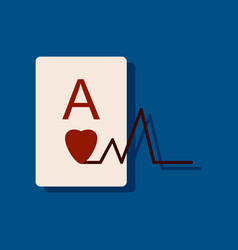 flat icon design ace of hearts silhouette in vector image
