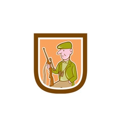 Hunter holding rifle shield cartoon vector